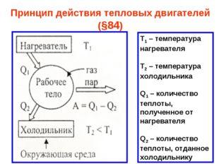 Принцип действия тепловых двигателей (§84) Т1 – температура нагревателя Т2 –