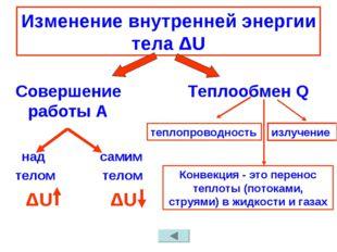 Изменение внутренней энергии тела ΔU Совершение работы А над самим телом тело
