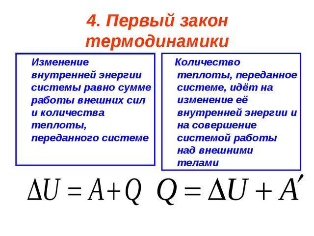 4. Первый закон термодинамики Изменение внутренней энергии системы равно сумм...