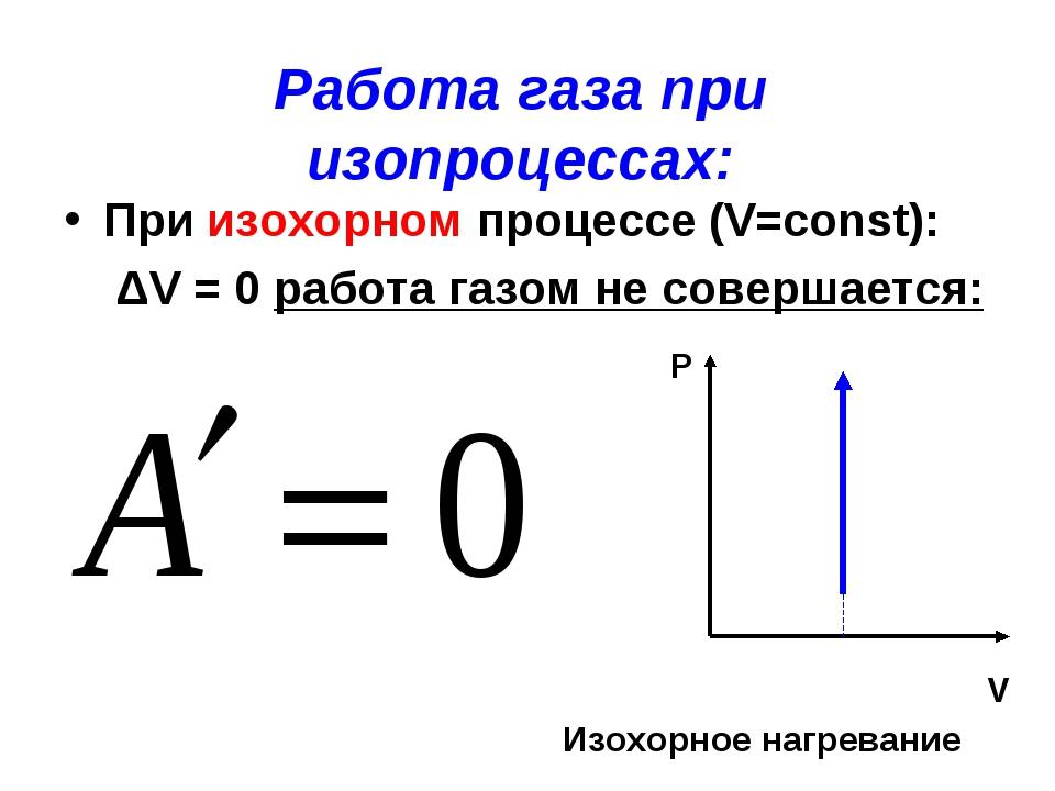 Работа газа при изопроцессах: При изохорном процессе (V=const): ΔV = 0 работа...