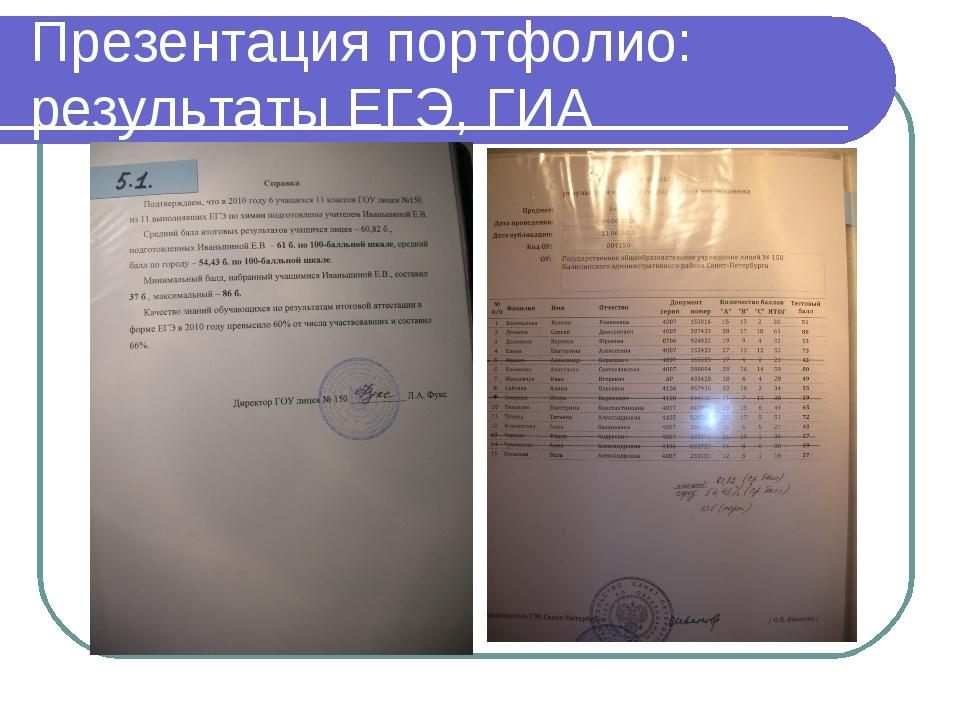 Презентация портфолио: результаты ЕГЭ, ГИА