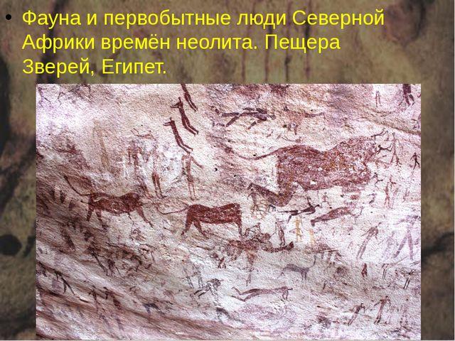 Фауна и первобытные люди Северной Африки времён неолита. Пещера Зверей,Египет.