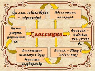Классицизм От лат. «classikus» – образцовый Абсолютная монархия Франция – Люд