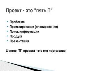 Проблема Проектирование (планирование) Поиск информации Продукт Презентация Ш