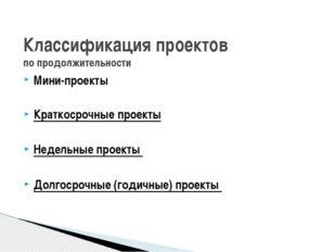 Классификация проектов по продолжительности Мини-проекты Краткосрочные проект