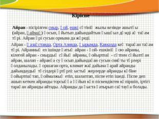 Кіріспе Айран- пісірілгенсиыр,қой,ешкісүтінің жылы кезінде ашытқы (айра