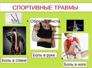 СПОРТИВНЫЕ ТРАВМЫ Боль в спине Боль в руке Боль в ноге
