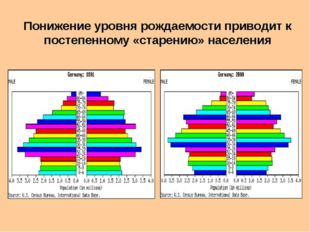 Понижение уровня рождаемости приводит к постепенному «старению» населения