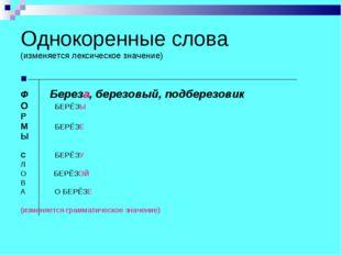 Однокоренные слова (изменяется лексическое значение) Ф Береза, березовый, под