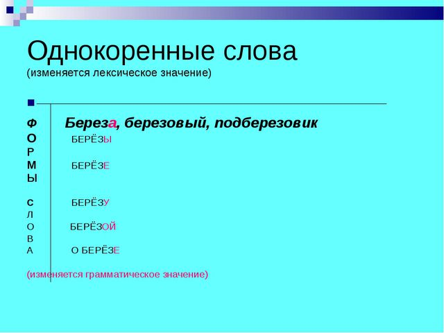 Однокоренные слова (изменяется лексическое значение) Ф Береза, березовый, под...