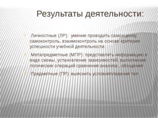 Результаты деятельности: Личностные (ЛР): умение проводить самооценку, самок