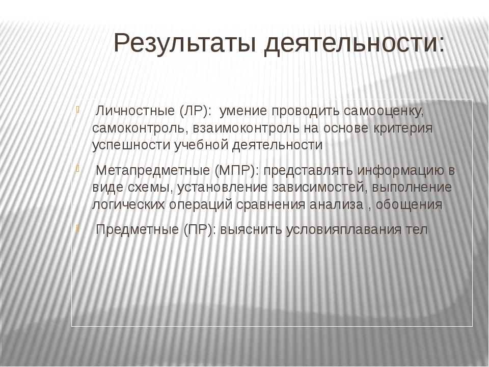 Результаты деятельности: Личностные (ЛР): умение проводить самооценку, самок...