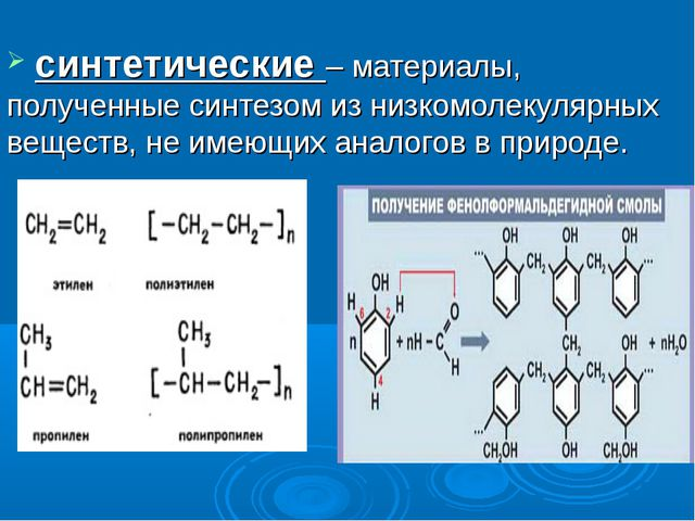синтетические – материалы, полученные синтезом из низкомолекулярных веществ,...