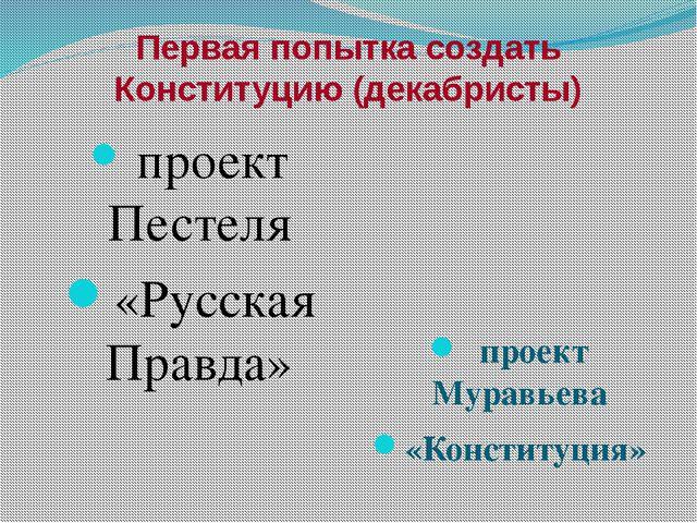 Первая попытка создать Конституцию (декабристы) проект Пестеля «Русская Правд...