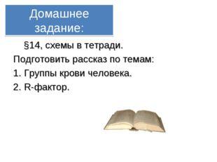 Домашнее задание: §14, схемы в тетради. Подготовить рассказ по темам: 1. Груп