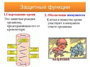 1.Свертывание крови Это защитная реакция организма, предохраняющая его от кро