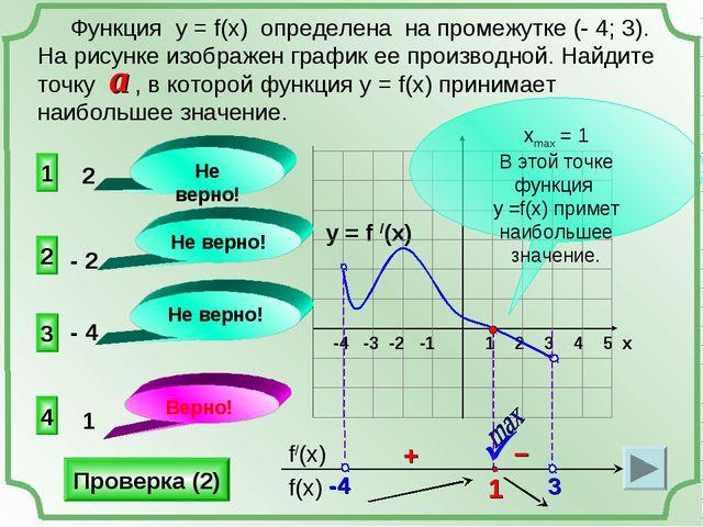 y = f /(x) 1 2 3 4 5 х -4 -3 -2 -1   4 3 1 2 Не верно! Не верно! Не верно!...