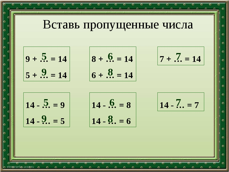 Вставь пропущенные числа 9 + … = 14 5 + … = 14 8 + … = 14 6 + … = 14 7 + … =...