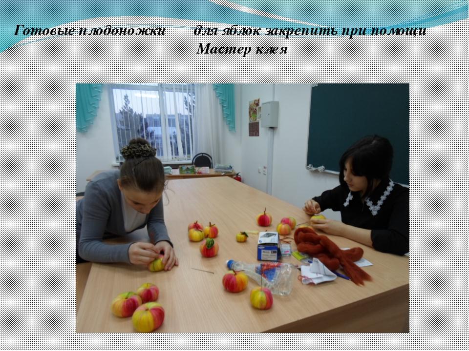 Готовые плодоножки для яблок закрепить при помощи Мастер клея