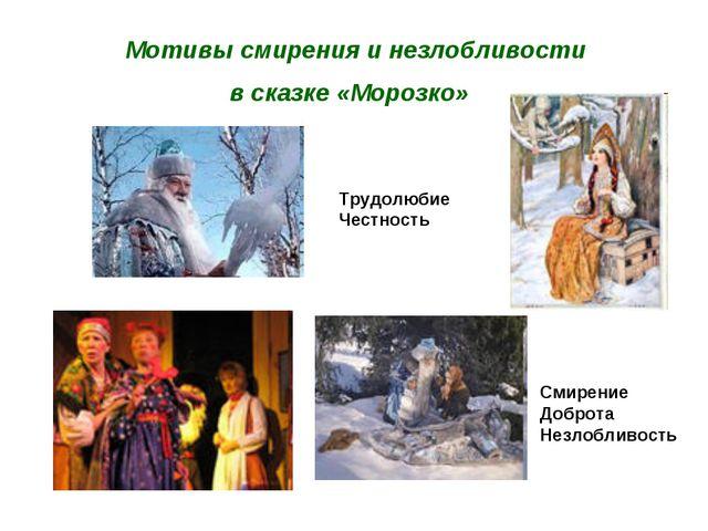 Мотивы смирения и незлобливости в сказке «Морозко» Трудолюбие Честность Смир...