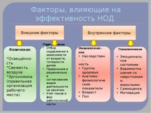 Факторы, влияющие на эффективность НОД Внешние факторы Внутренние факторы Физ