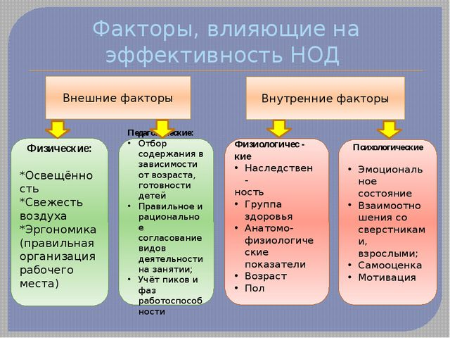 Факторы, влияющие на эффективность НОД Внешние факторы Внутренние факторы Физ...
