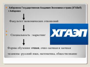 Хабаровска Государственная Академия Экономики и права (ХГАЭиП) г.Хабаровск Ф