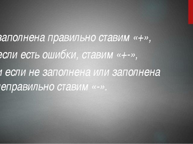 заполнена правильно ставим «+», если есть ошибки, ставим «+-», и если не запо...