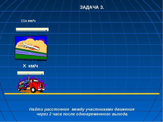 ЗАДАЧА 3. 11х км/ч   Х км/ч  Найти расстояние между участниками движения...