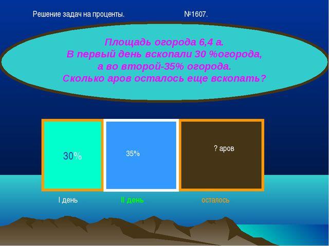 30% Площадь огорода 6,4 а. В первый день вскопали 30 %огорода, а во второй-35...