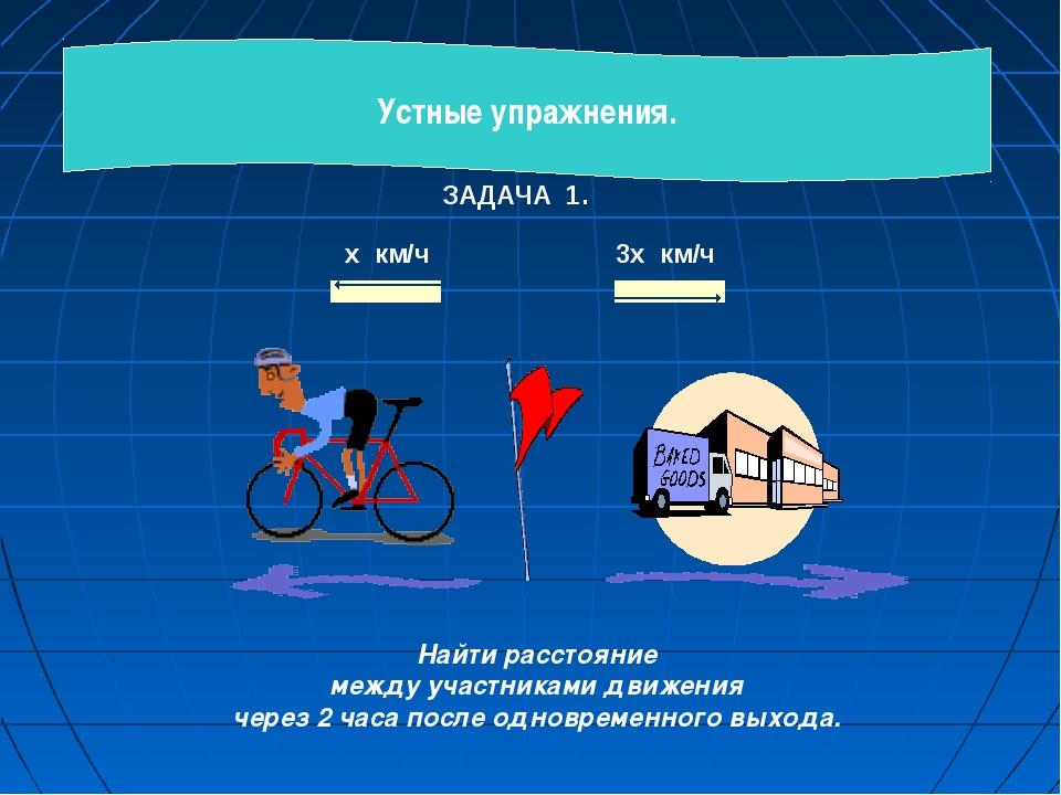 ЗАДАЧА 1. х км/ч 3х км/ч         Найти расстояние между участниками д...