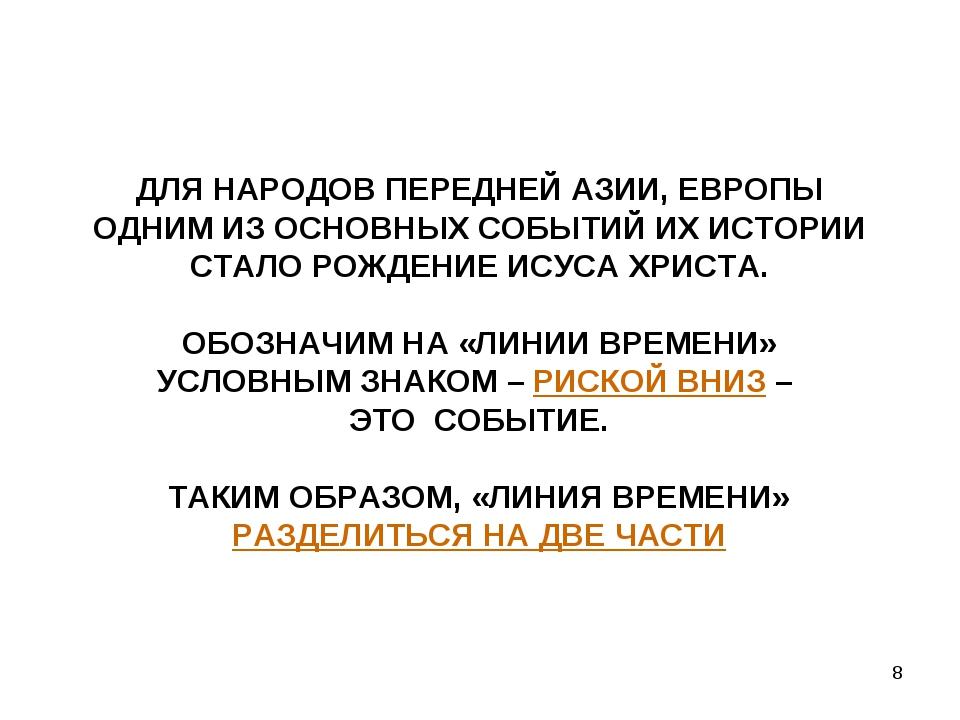* ДЛЯ НАРОДОВ ПЕРЕДНЕЙ АЗИИ, ЕВРОПЫ ОДНИМ ИЗ ОСНОВНЫХ СОБЫТИЙ ИХ ИСТОРИИ СТАЛ...