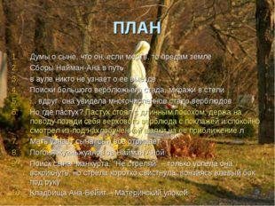 ПЛАН Думы о сыне, что он, если мертв, то предам земле Сборы Найман-Ана в путь