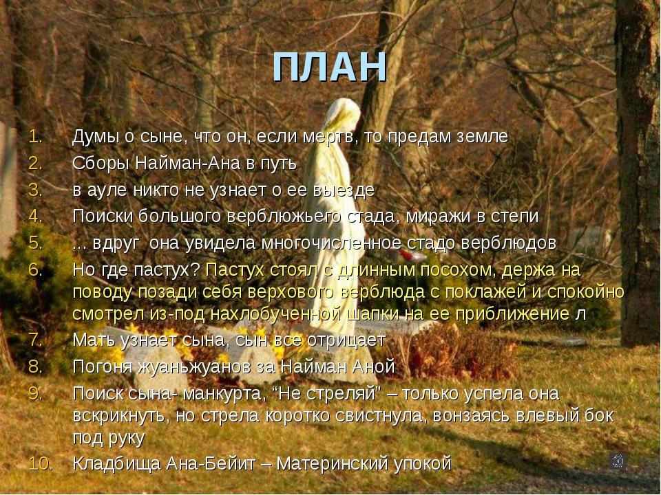 ПЛАН Думы о сыне, что он, если мертв, то предам земле Сборы Найман-Ана в путь...