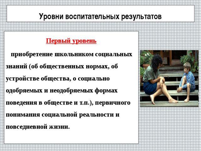 Уровни воспитательных результатов Первый уровень приобретение школьником соци...