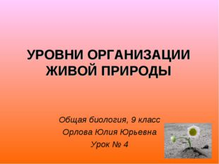 УРОВНИ ОРГАНИЗАЦИИ ЖИВОЙ ПРИРОДЫ Общая биология, 9 класс Орлова Юлия Юрьевна