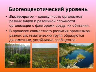 Биогеоценотический уровень Биогеоценоз – совокупность организмов разных видов