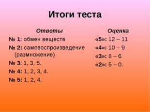 Итоги теста Ответы № 1: обмен веществ № 2: самовоспроизведение (размножение)