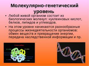 Молекулярно-генетический уровень Любой живой организм состоит из биологически