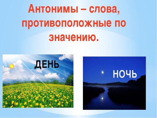 Антонимы – слова, противоположные по значению. ДЕНЬ НОЧЬ