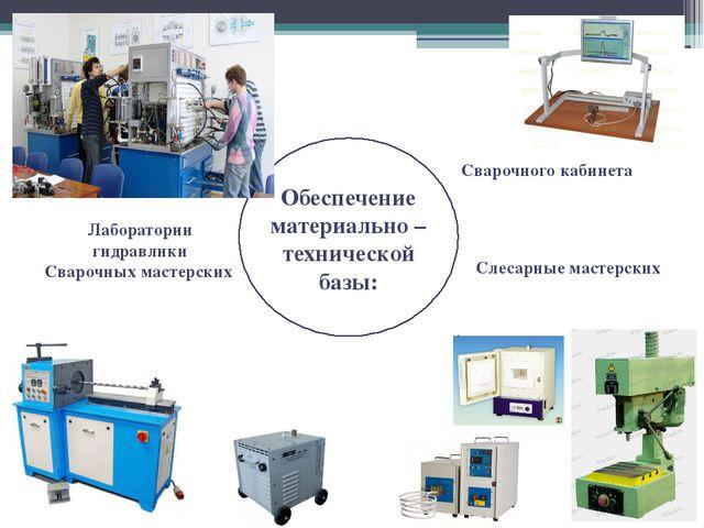 Обеспечение материально – технической базы: Сварочного кабинета Лаборатории...
