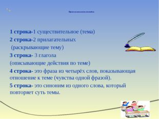 Правила написания синквейна 1 строка-1 существительное (тема) 2 строка-2 при