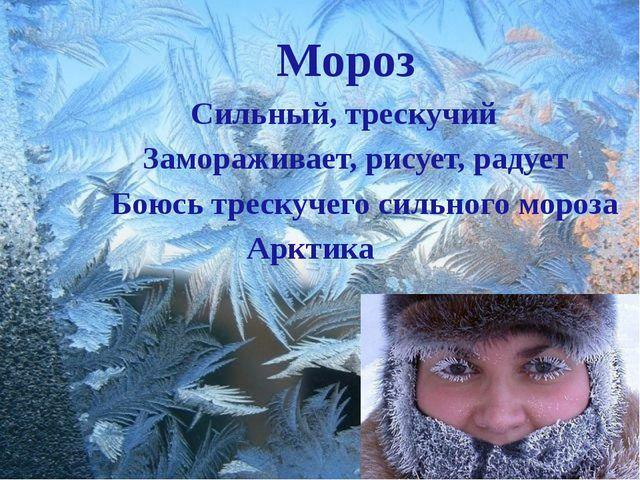 Мороз Сильный, трескучий Замораживает, рисует, радует Боюсь трескучего сильн...