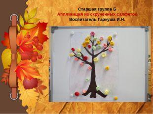 Старшая группа Б Аппликация из скрученных салфеток Воспитатель Гаркуша И.Н.