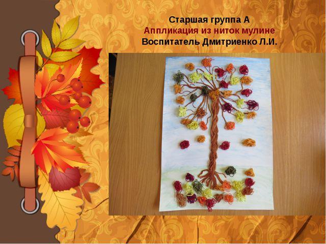 Старшая группа А Аппликация из ниток мулине Воспитатель Дмитриенко Л.И.