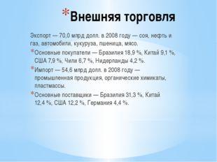 Внешняя торговля Экспорт— 70,0млрд долл. в 2008 году— соя, нефть и газ, ав