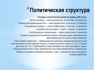 Политическая структура Основные политические партии (на январь 2009 года): Фр