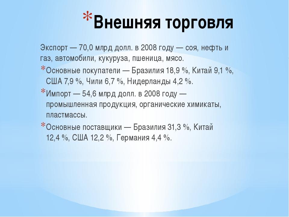 Внешняя торговля Экспорт— 70,0млрд долл. в 2008 году— соя, нефть и газ, ав...