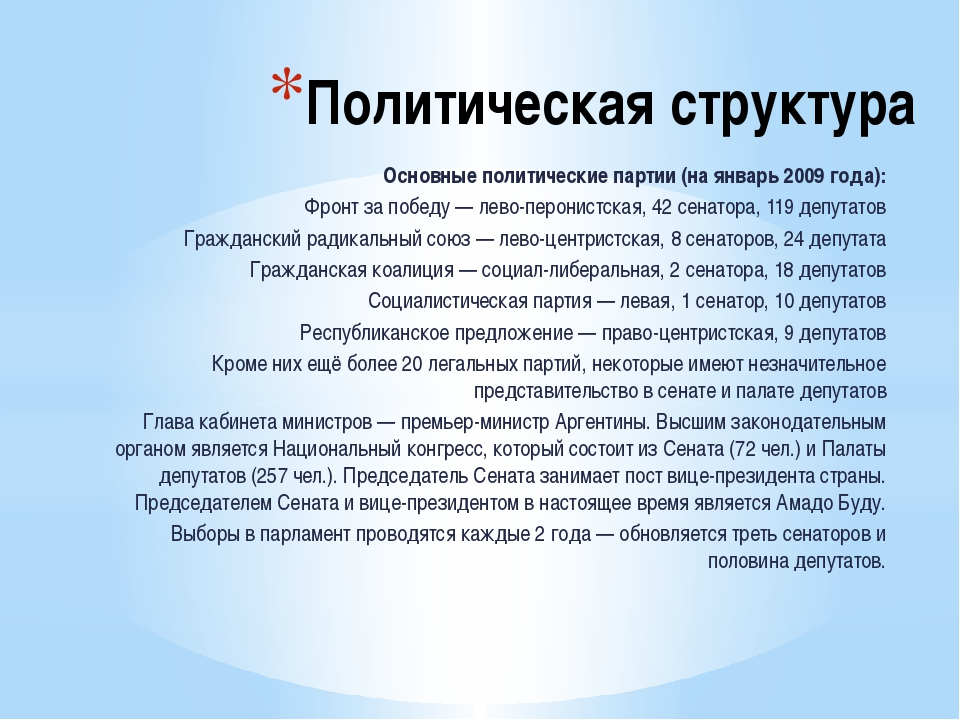 Политическая структура Основные политические партии (на январь 2009 года): Фр...