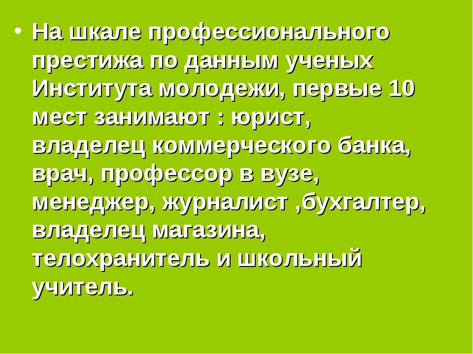 На шкале профессионального престижа по данным ученых Института молодежи, пер...